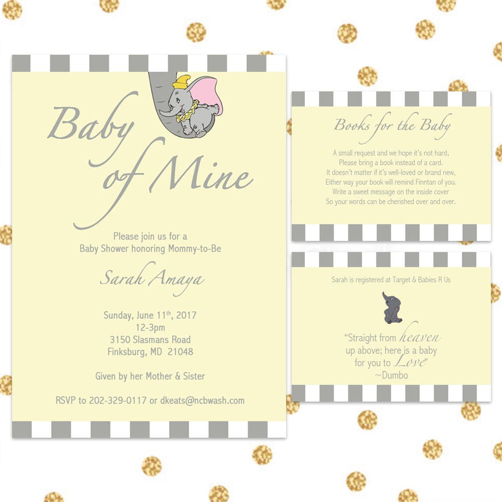 Dumbo Baby Shower Invitation Bundle Digital Invite Yellow | Etsy