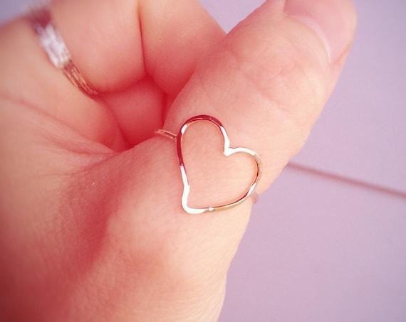 Minimalist Heart Ring, Gold Ring, Stacking Ring, Heart Ring, Open Heart Ring, Heart Rings, Artsy Heart Ring, Gift