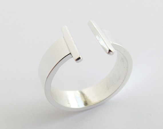 Double Bar Ring, Bar Ring, Two Bars Ring, Parallel Bar Ring, Sterling Silver Ring, Open Bar Ring, Modern, Minimalist Ring, Thick Bar Ring