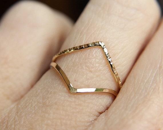 Chevron Ring Set, Gold Chevron Rings, Textured, Boho Ring, Minimalist, Everyday Jewelry, Simple, Gift, Modern Ring, Geometric Ring, Chevron