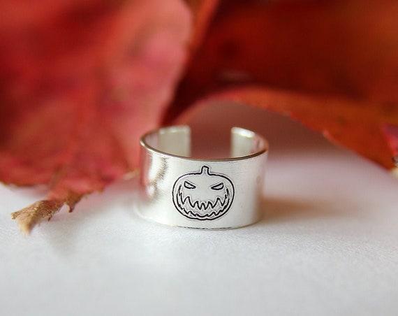 Jack-o-Lantern Ear Cuff, Halloween Ear Cuff, Jack-o-Lantern Jewelry, Ear Cuff, Halloween Ear Cuff, Halloween Jewelry, Halloween, Gift