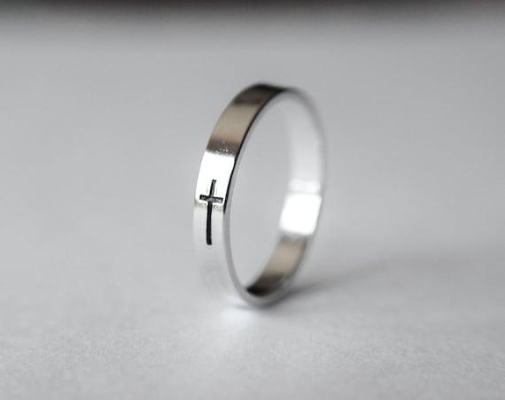 Sterling Silver Cross Ring,Sideways Cross Ring,Easter gift,Cross Ring,Christian Ring,Baptism Ring,Faith Ring,Silver Cross Ring,Faith Gift
