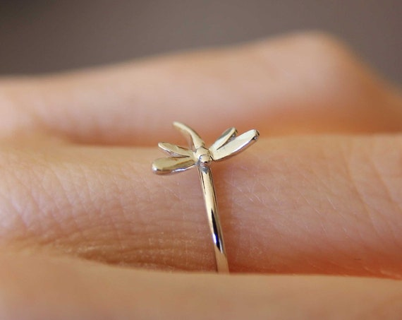Dragonfly Ring, Sterling Silver Dragonfly Ring, Dragonfly Stacking Ring, Dragonfly Jewelry, Minimalist Insect Ring, Insect Jewelry, Gift
