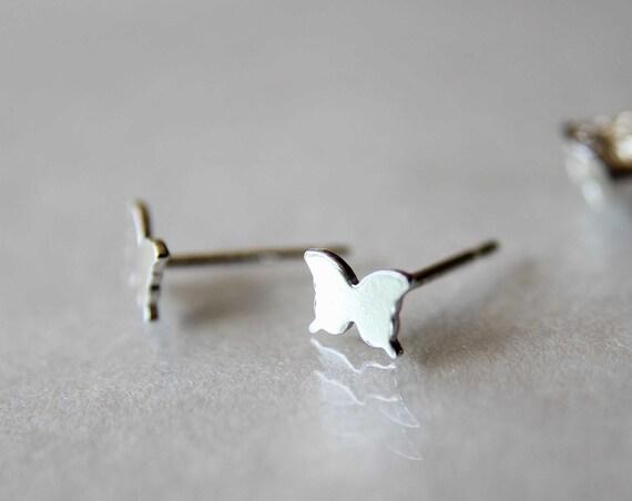 Tiny Butterfly Studs, Small Butterfly Earrings, Butterfly, Tiny Earrings, Modern Studs, Minimalist Jewelry, Silver Butterfly Earrings, Gift