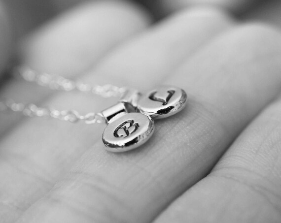 Initial Necklace, Letter Necklace, Pebble Necklace, Sterling Silver Initial Necklace, Recycled Pebble, Recycled, Minimalist, Tiny, Gift