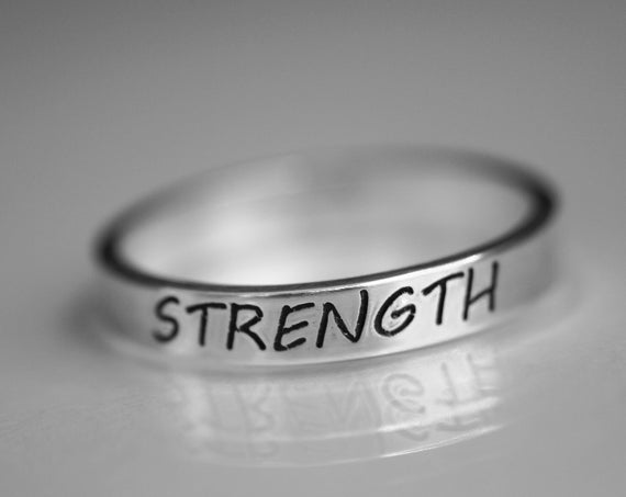 Inspirational Ring, Customizable Inspirational Ring, Strength Ring, Custom Band Ring, Name Ring, Personalized Ring, Inspirational Jewelry