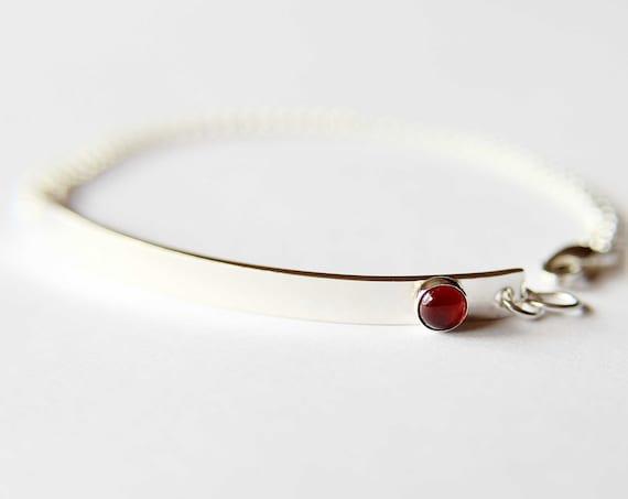 Birthstone Bar Bracelet, Bar Bracelet, Birthstone Jewelry, Birthstone Nameplate Bracelet, Nameplate Bracelet, Silver Bar Bracelet, Gift