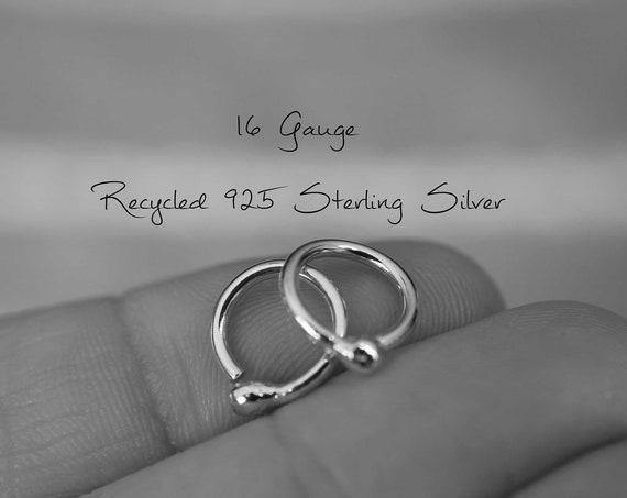 Modern Recycled Hoop Earrings, Unisex Earrings, Mens Earrings, Hoop, Tiny Hoop Earring, Sterling Hoop Earrings, Rustic Sleeper Earring