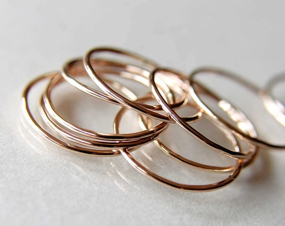 Thin Round Rose Gold Stackable Ring, 14k Gold Filled, Stacking Ring, Dainty Gold Ring, Tiny Ring, Skinny Ring, Gold Filled Ring, Thin Ring