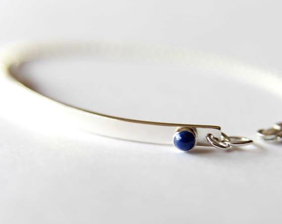 Skinny Nameplate Bracelet, Sterling Bar Bracelet, Personalized Bar Bracelet, Custom ID Bracelet, Lapis Lazuli Bracelet, Birthstone Bracelet