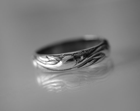 Pattern Band, Unique Band, Wide Band Ring, Antique Silver Ring, Simple Wedding Band, Pattern Jewelry, Stacking Ring, Thick Pattern Ring