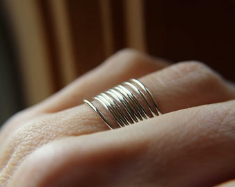 Thin Silver Band Minimalist Sterling Silver Rings choose quantity skinny Hammered Rings stacking rings spring fashion