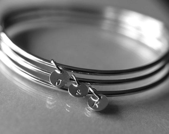 Personalized Bangle, Custom initial charm bracelet, sterling silver bangle, Silver initial bangles, Bridesmaids gift, Stacking Bangle, Gift