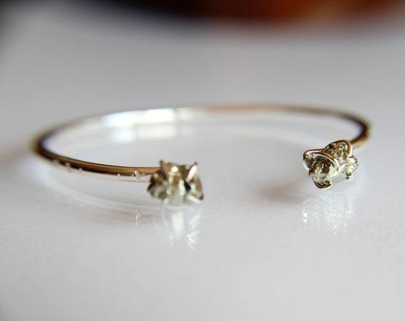 Pyrite Cuff Bracelet, Raw Pyrite Bracelet, Stacking Cuff, Natural Pyrite, Rustic, Simple, Minimal, Boho Chic, Raw, Modern, Gypsy, Gift