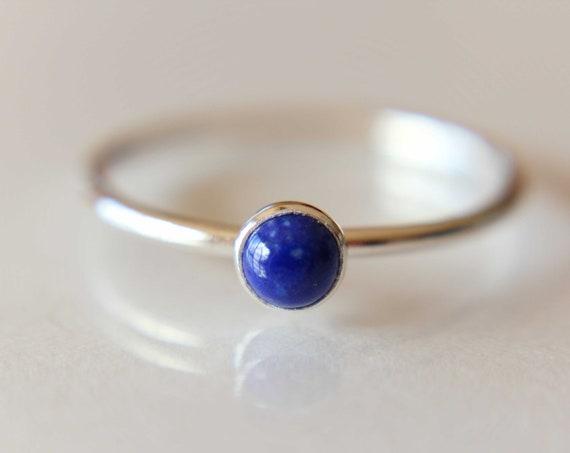 Lapis Ring, Lapis Stacking Ring, Tiny Lapis Ring, Gemstone Ring, Lapis Lazuli Ring, Gemstone Stacking Ring, Blue, Lapis Lazuli Stone, Gift