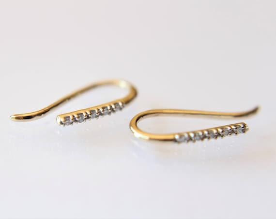 Diamond Line Earrings, Bar Earrings, Solid Gold Bar Earrings, Diamond Earrings, Line Earrings, Modern Chic, Dash Studs, Simple Bold Earring