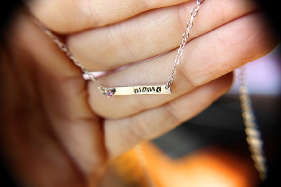 Mama Bar Necklace, Mama Birthstone Necklace, Mama Jewelry, Custom Bar Necklace, Birthstone Bar Necklace, Stamped Bar Necklace, Gift for Her