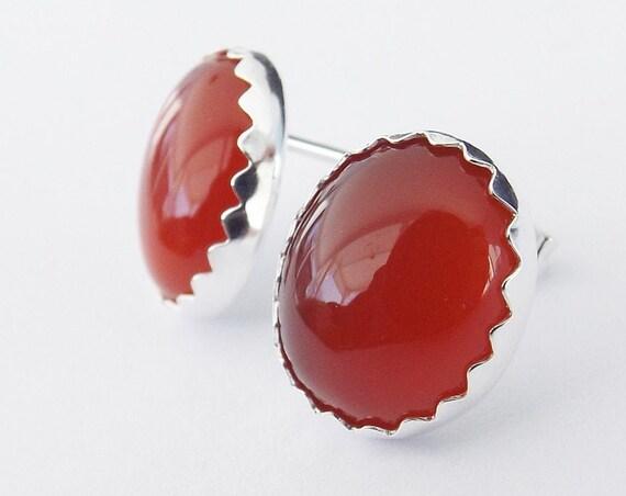 Carnelian Earrings,Carnelian Post Earrings,Boho Chic Earrings,Red Carnelian,Bold Red Earring,Boho Minimalist Post Earring,Everday Red