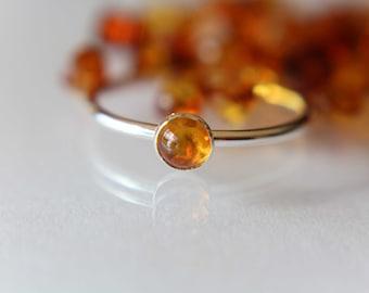 Natural Amber Ring Baltic Amber Ring Orange Gemstone Ring Orange Amber Ring Orange Ring Polished Amber Gemstone Ring Amber Jewelry