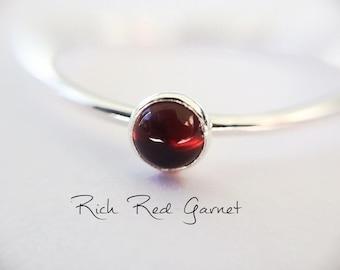 Sterling silver dainty garnet ring January birthstone red garnet stack ring Garnet stacking ring Arabic English stacking ring
