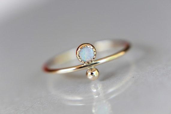 Opal Stacking Ring, Slim Ring, Stacking Gemstone Ring, Opal Rings, Unique Rings, Wisper Gemstone Rings, Gift, White Opal, Genuine, Gift