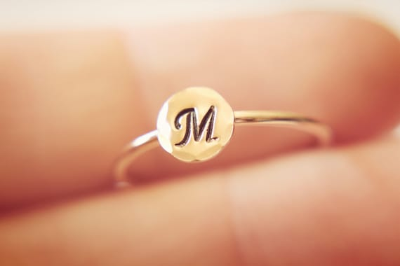 Rose Gold Initial Ring, Letter Ring, Alphabet Ring, Initial Stacking Ring, Number Ring, Personalized Ring, Pick Your Initial, Gift, Stacker