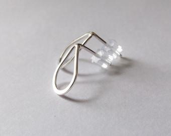 Simple Earrings, Drop Earrings, Teardrop Earrings, Hammered Earrings, Stud Earrings, Metal Earrings, Modern Jewelry, Minimalist