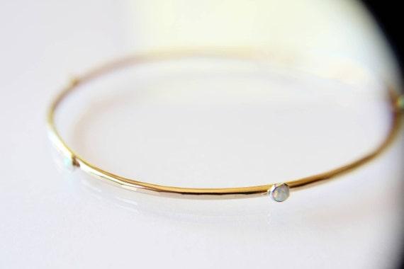 Opal Bracelet, Opal Jewelry, Gold and Opal Bracelet, Gold Layer Bracelet, Bangle, Modern Opal Bracelet, Simple Bracelet, Opal, Gemstone