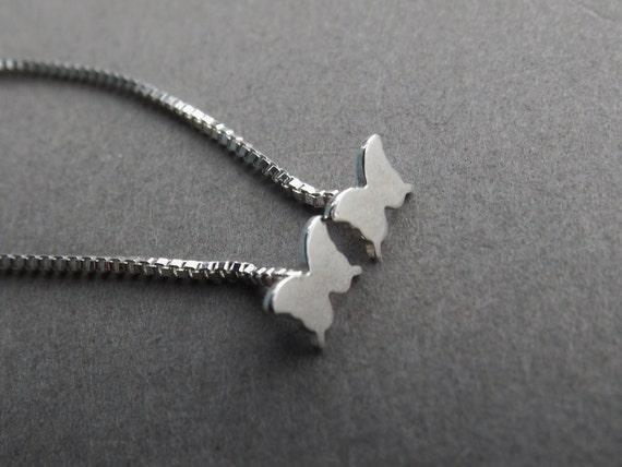 Butterfly Earrings,Tiny Butterfly Earrings,Sterling Butterfly Earrings,Thread Earrings,Butterfly Chain Earrings,Butterfly Studs,Simple,Chain