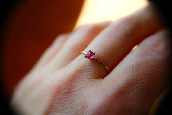 Rose Cut Tourmaline Ring, Pink Tourmaline Ring, Natural Gemstone Ring, Romantic Ring, Valentines, Gold Stacking Ring, Textured, Gift