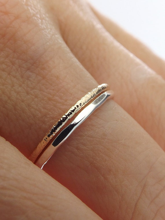 Simple Stacking Set,Mixed Metals Ring Set,Textured Rings,Faceted Ring,Boho Ring Set,Stacking Rings,Boho Chic,Yellow Gold filled and Sterling