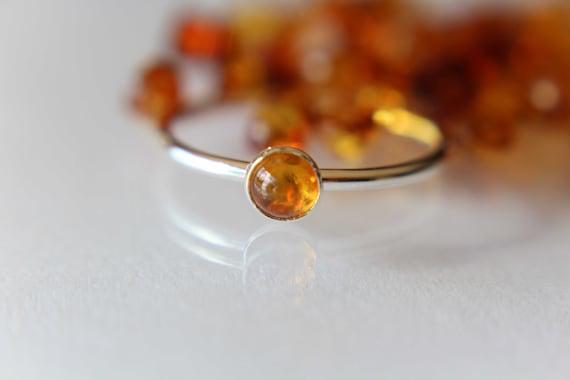 Amber Stacking Ring, Amber Ring, Natural Amber Ring, Baltic Amber, Amber Jewelry, Natural Gemstone Ring, Baltic Amber Ring, Amber, Gift