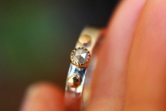 Rose Cut Diamond Ring, Genuine Diamond Ring, Gray Diamond, Minimalist Ring, Rough Diamond Ring, Diamond Ring, Gold Diamond Ring, Gift
