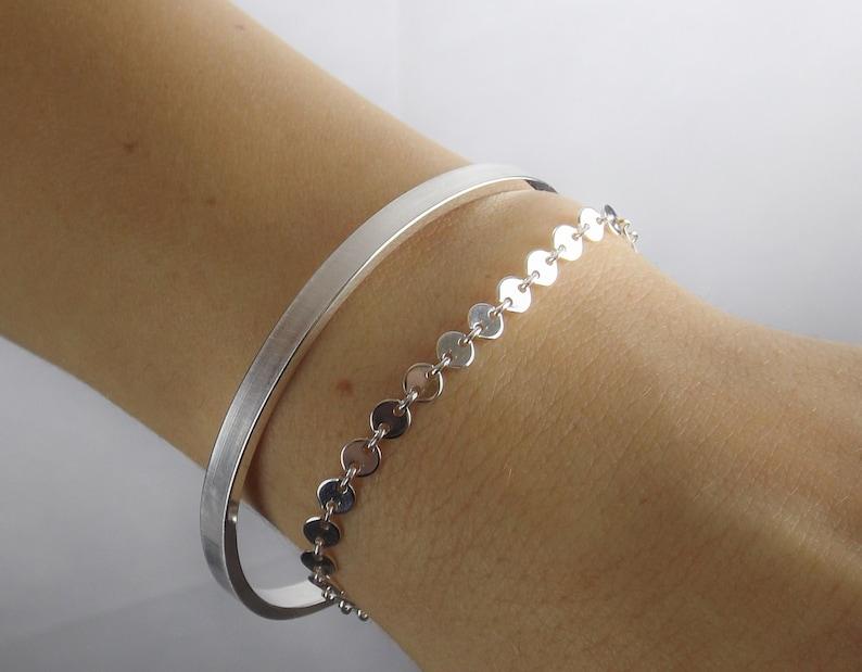 Sterling Silver Sequin Bracelet,Dainty Sterling Silver Chain Bracelet,Solid Sterling Silver Bracelet,Simple Silver Bracelet,Layer Bracelet
