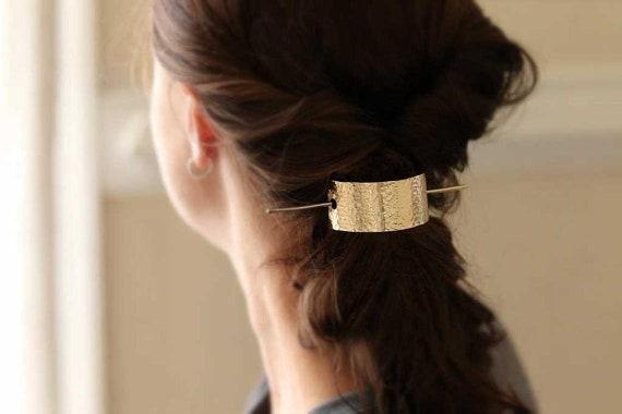 Gold Hair Slider Set, Bun Holder, Textured Hair Slide, Hair Pin, Simple Hair Pin, Minimalist Hair Fork Pin, Hair Cuff, Hair Accessories