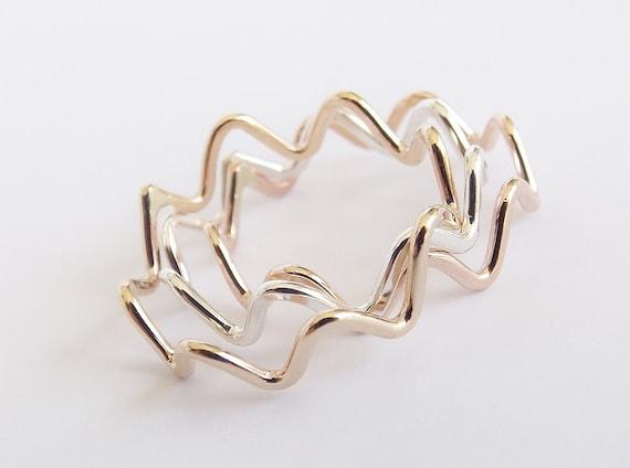 Stackable Zig Zag, Zig Zag Ring, Stackable Wave Ring , Zig Zag Jewelry, Wave Ring, Modern Design Stacking Ring, Boho Ring , Handmade Zig Zag