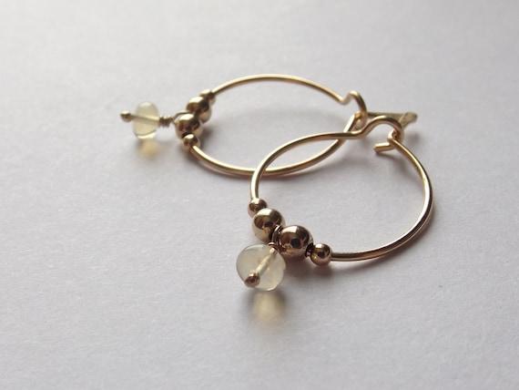Opal Hoop Earrings,Gold Hoop Earrings,Simple Gold Earrings,Tiny Hoop Earrings,Modern Opal Earrings,Small Earrings,Simple Hoop Earrings, Opal