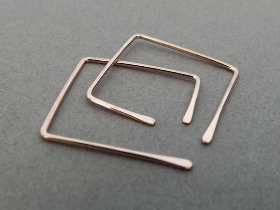 Square Earrings, Square Post Earrings, Square Hoop Earrings, Square Earrings, Rose Gold Earrings, Customizable Earrings, Square Jewelry