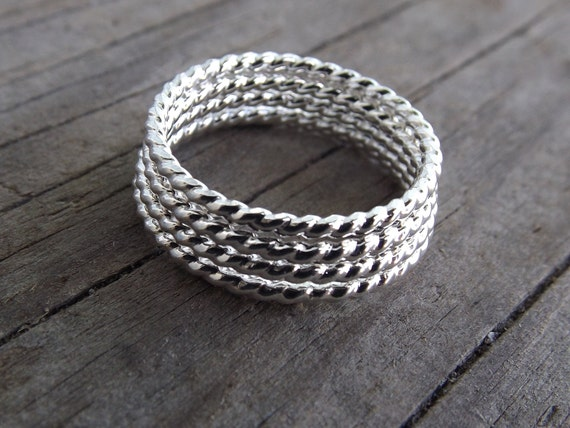 Silver Rope Ring, Stackable Ring, Twisted Ring, Rope Band, Simple Band, Minimalist,Thumb Ring,Simple Ring,Stacker,Boho Chic, Twist Ring