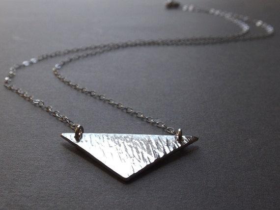 Textured Sterling Silver Chevron Necklace, Minimalist Jewelry, Geometric Statement Necklace, Sterling V Bar Necklace, Modern Minimalist