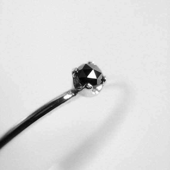 Diamond Ring, Genuine Diamond Ring, Black Diamond, Slim Ring, Minimalist Ring, Gift, Gemstone Ring, Tiny Diamond Ring, Diamond Ring, Gift