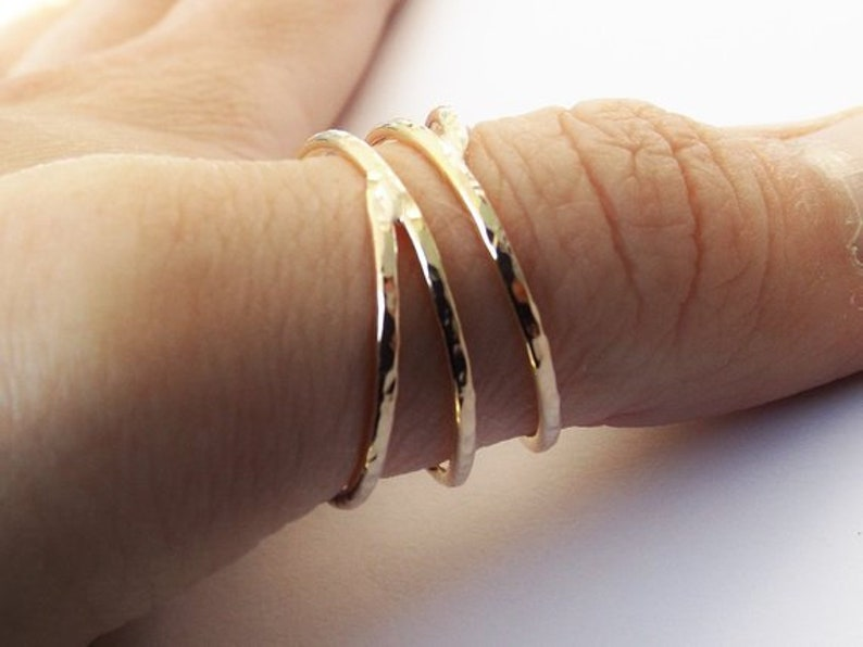 Bypass Thumb Ring Coil Ring Textured Thumb Ring Wrap Around image 0