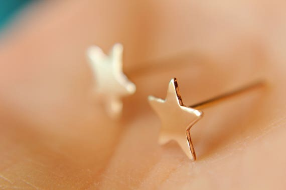 Gold Star Earrings, Gold Stud Earrings, Star Post Earring, Star Earrings, Yellow Gold Star Earring, Simple Gold Stud, Star Stud, Stars, Gift
