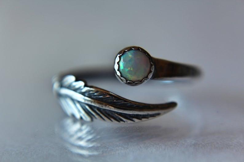 Stacking Ring Boho Chic Feather Ring Gemstone Stacking Ring Minimalist Ring Opal Ring Modern Ring Boho Feather Gemstone Jewelry