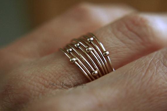 Gold Orbit Ring, Spinner Rings, Stacking Rings, Modern Sterling Spinner Ring, Thin Ring, Beaded Ring, Whisper Rings, Delicate Rings, Gift