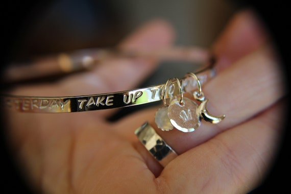 Motivational Quote, Don't Let Yesterday Take Up Too Much Of Today, Quote Jewelry, Positive Motivation Jewelry, Moonstone, Initial Bangle by Etsy