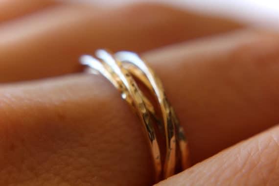 Gold Interlocking Rings, Thumb Rings, Textured Gold Thumb Ring, Interlocking Rings, Rolling Ring, Stacking Rings, Minimalist Rings