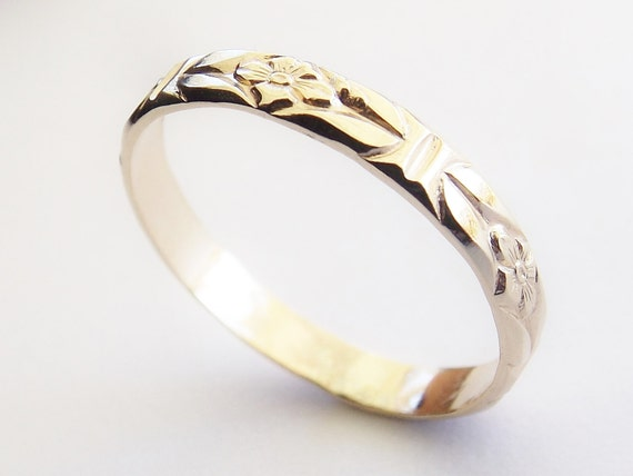 Solid 14k Yellow Gold Ring, Wedding Band, Floral Band, Gold Ring, Simple Ring, Anniversary, Gift, Modern, Minimalist, Victorian Band