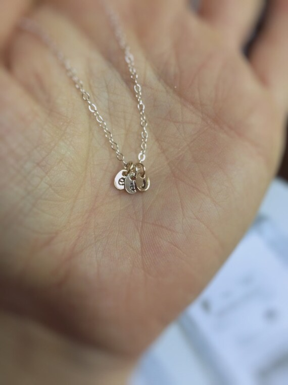 Initial Necklace,Mothers Jewelry,Gift for Mom,Initial Jewelry,Initial Charm,Personalized NecklaceGift ,Gift for Her,Mixed Metal Initials