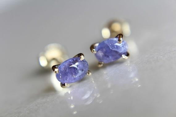 Tanzanite Earrings, Gemstone Earrings, Gold Earrings, Post Earrings, Tanzanite Post Earrings, Small Earrings, Minimalist Earrings, Lux, Gift